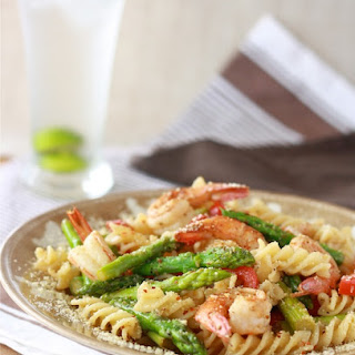 Lemongrass Asparagus Pasta with Shrimp