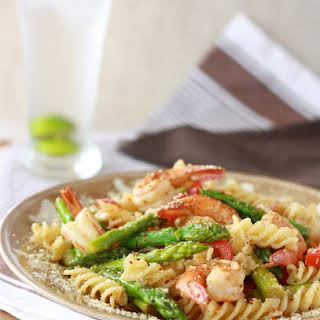 Lemongrass Asparagus Pasta with Shrimp.