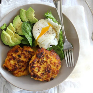Plantain Bacon Fritters with Avocado and Poached Egg {Paleo & Whole30}.