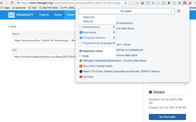 Managify Organized Bookmarks