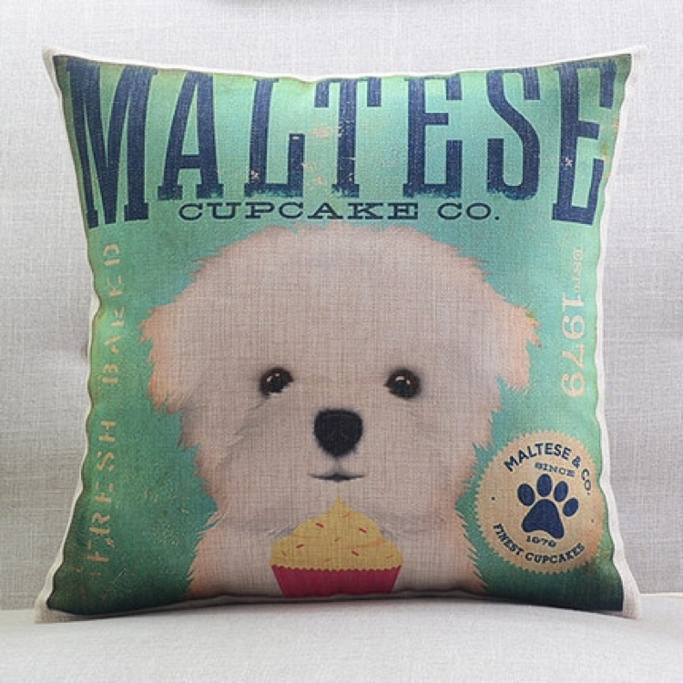 Maltese Sofa Cushion Throw Pillow Case Cover