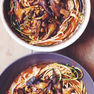 15 Minute Marinated Mushroom Zoodle Pasta.