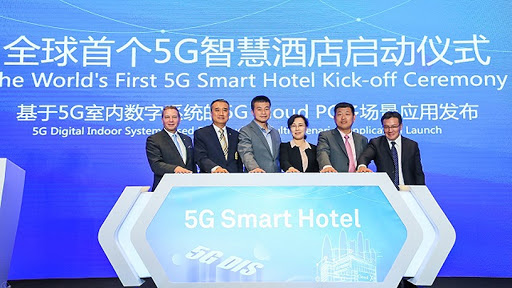 Stakeholders involved in the 5G smart hotel venture at the signing ceremony.