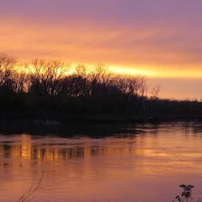 Sunset on the Missouri  River by Chris Clay - Landscapes Sunsets & Sunrises ( wildlife refuge., missour river, susnet, de soto bend )