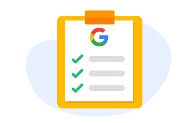 Google circle G logo inside an illustrated yellow ribbon.
