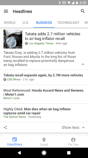 Screenshot 3 for Google News's Android app'