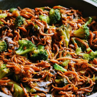 Sweet Potato Noodles And Broccoli Stir Fry.