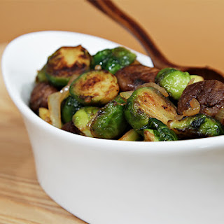 Maple-glazed pan-roasted Brussels sprouts with chestnuts.