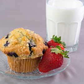 Mid Morning Snack by Eva Ryan - Food & Drink Plated Food ( snack, milk, strawberries, muffin, food, nourishment )