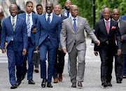 From left to right are  National Treasury director general Dondo Mogajane, Finance Minister Malusi Gigaba,  Deputy Minister of Finance Sfiso Buthelezi and SARS Commissioner Tom Moyane on their way to the medium-term budget speech of the Finance Minister Malusi Gigaba at parliament in Cape Town . PICTURE: ESA ALEXANDER