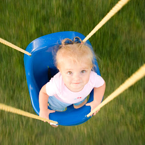 In the Swing of Things by Dallas Golden - Babies & Children Children Candids ( child, overhead, motion, swing, toddler )