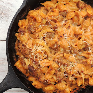 Creamy Baked Pasta with Sausage, Fennel and Pumpkin