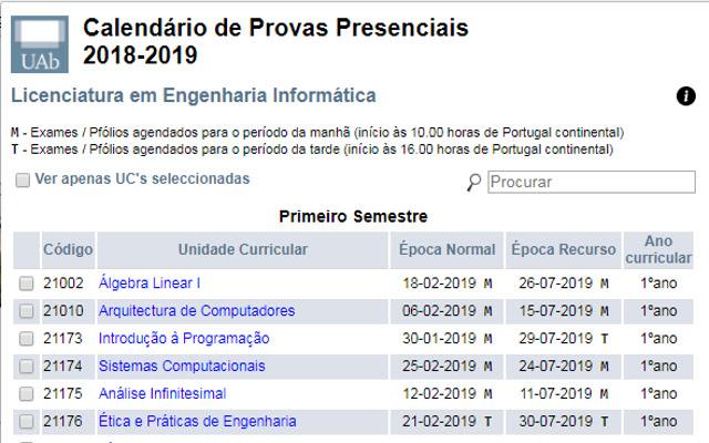 Calendário UAb 2018/2019