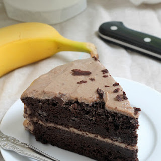 Chocolate Layer Cake with Peanut Butter Banana Frosting.