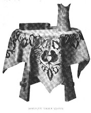 Photo: 1910 APPLIQUE TABLECLOTH. Appliqued fabrics were very expensive before this