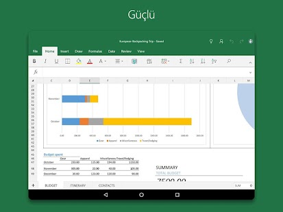 Tablet için Microsoft Excel Screenshot