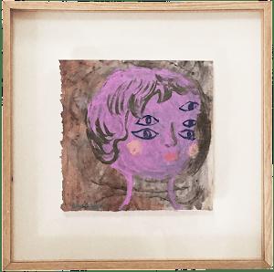 trouble-cadre-peinture-papier-magazine-sophie-lormeau-artiste-peintre-portrait-imaginaire-rose-porpre-yeux-pink-figurtative-art-singulier-singular-dream-poetique-eyes-french-paris-acrylic-on-paper-colorful-chagall-naive