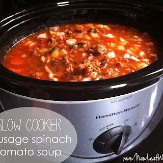 Slow Cooker Sausage Spinach Tomato Soup.