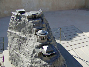 Photo: A model of Herod's palace built in tiers on the back side of the plateau
