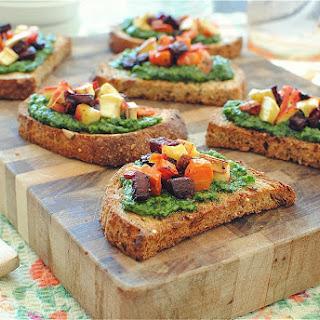 Kale and Sage Pesto Crostini with Roasted Vegetables