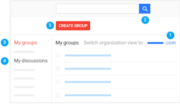 My groups page with search bar, discussions, and Create Group option