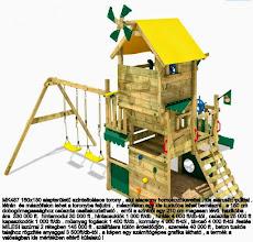 Photo: MK487 160x180 alapterületű szinteltolásos torony , alul alacsony homokozókerettel , kis elárusító pulttal .   létrán  és mászófalon lehet a toronyba feljutni .  mászófalon egy kis kuckóba lehet bemászni . a 150 cm  dobogómagassághoz csúszda csatlakoztatható .  erről a szintről egy 210 cm magasan lévő  házikóba .  ára  330 000 ft.  hintamodul 30 000 ft , hintacsuklók 1 000 ft/db , hinták 4 000 ft/db-tól , csúszda 25 000 ft   kapaszkodók 1 000 ft/db . műanyag fogások 1 400 ft/db , kormány 4 000 ft-tól , távcső 4 000 ft-tól .festés  MILESI lazúrral 2 rétegben 145 000 ft . szállításra külön érdeklődjön , szerelés 40 000 ft , beton tuskós  talajhoz rögzítés anyaggal 3 500ft/db-tól . a képen egy számítógépes grafika látható , a termék a  valóságban kis mértékben eltérő külalakú !