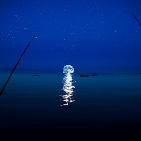 Fisherman magic tale by Davor Strenja - Landscapes Waterscapes ( magic, stars, croatia, night, zadar, fisherman, moonj, tales )
