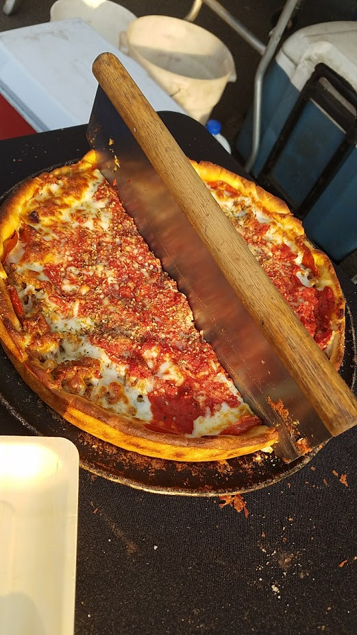 Via Chicago deep dish pizza - Meaty pizza with Isemio's sausage, pepperoni and giardinara peppers