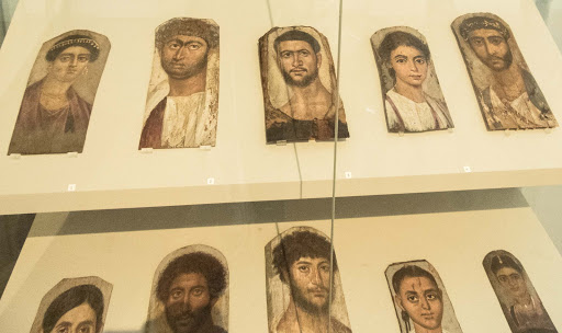 Roman soldiers used wax and tempera to paint likenesses of the deceased, who were mummified in Egypt. All date from 60 to 150 A.D. at the Altes Museum in Berlin.