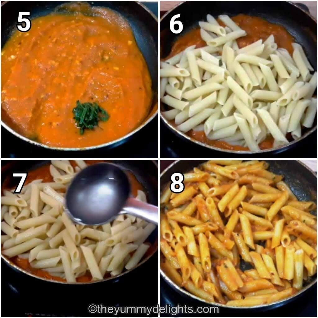 step by step collage of addition of penne pasta to arrabbiata sauce