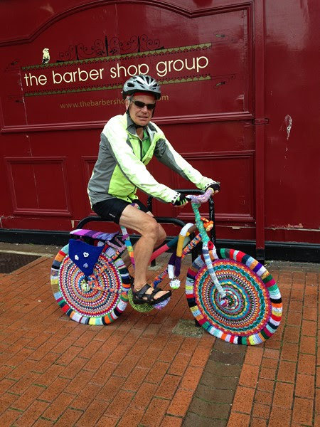 steve on knitted bike