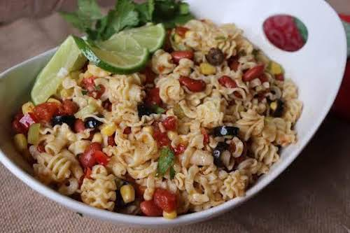 "Southwest Pasta Salad""This simple pasta salad recipe is bursting with flavors. There's..."