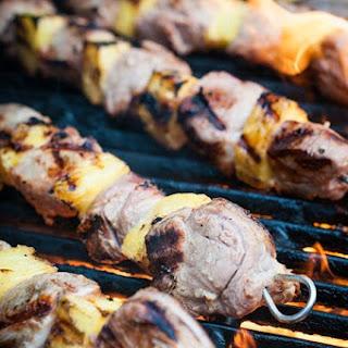 Marinated Pork Tenderloin and Pineapple Kabobs.