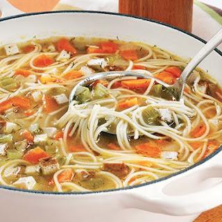 """Vegan """"Chick-Un"""" Noodle Soup"""