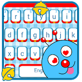 Cute Blue Cartoon Cat Keyboard Theme