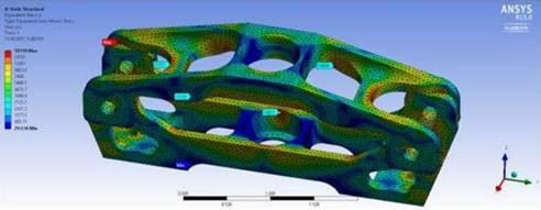 ANSYS Модель элемента подвески автомобиля под действием нагрузки