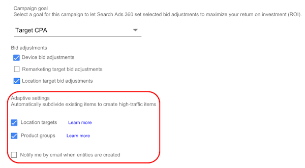 Campaign goal section in campaign editor with Location target bid adjustments check box selected and in the Adaptive settings section, Location targets and  Product groups check boxes selected