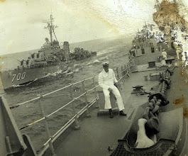Photo: Patrick Alonzo Tillery. Paris on Midshipman cruise USS Wisconsin 1953