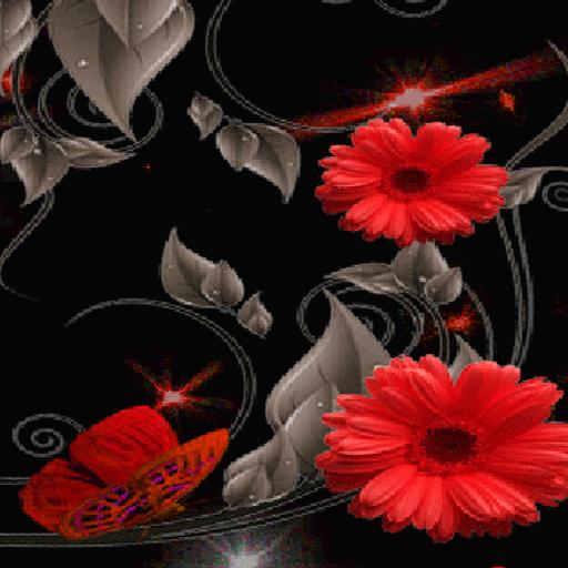 Red Flowers Butterflies LWP