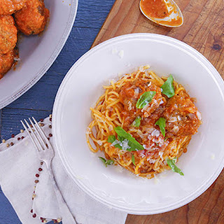 Beef and Pork Meatballs with Tomato-Fennel Sauce.