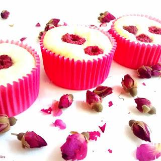 White Chocolate, Raspberry & Rosewater Cheesecakes