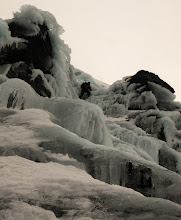 """Photo: Andy Owen approaches the top of """"Ice Crew"""", III, on Beinn Udlaidh"""