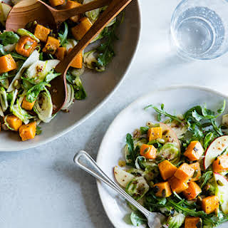 Roasted Butternut Squash Salad with Brussels Sprouts & Maple Dressing.