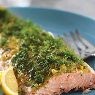 Salmon-Topped with Leek & Dill.