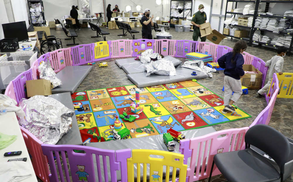 A playpen for children of illegal migrants at the Donna Immigration Facility in Texas.