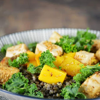 Kale Salad with Crispy Tofu.