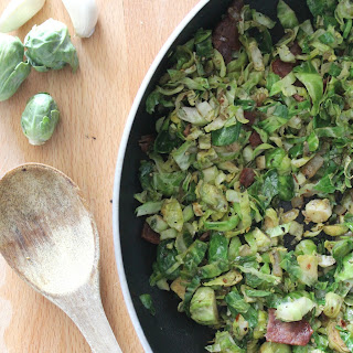 TURKEY BACON BRUSSEL SPROUTS WITH BALSAMIC VINEGAR