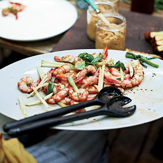 Grilled Shrimp with Apple and Charred Scallions Recipe