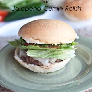 Pepper Jack Cheeseburgers with Jalapeńo-Cumin Relish