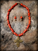 Photo: # 203 KINDRED SPIRIT ~ РІДНА ДУША  - brass Coptic cross, and bells, coral, gold plate   $120/set